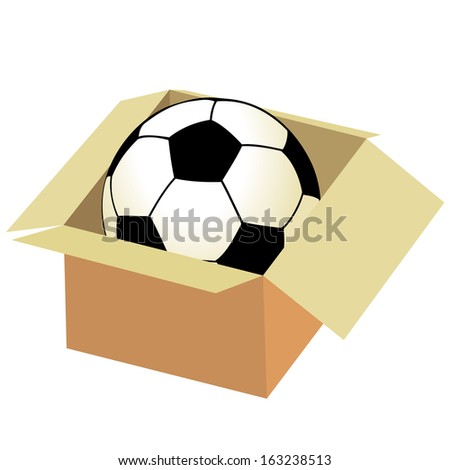 Soccer ball in the box - stock photo