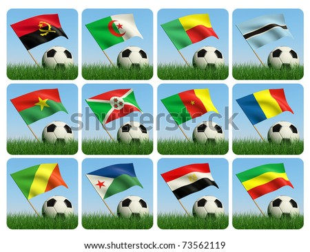 Soccer ball in the grass and the flag against the blue sky. African flags. 3d - stock photo
