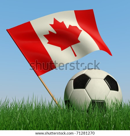 Soccer ball in the grass and the flag of Canada against the blue sky. 3d - stock photo
