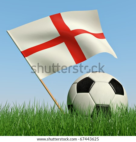 Soccer ball in the grass and the flag of England against the blue sky. 3d - stock photo