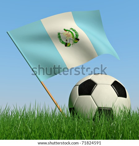 Soccer ball in the grass and the flag of Guatemala against the blue sky. 3d - stock photo