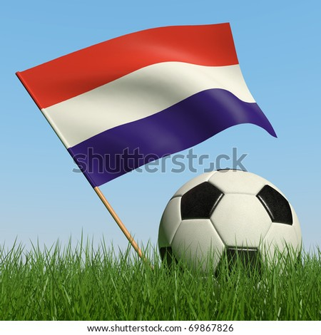 Soccer ball in the grass and the flag of Luxembourg against the blue sky. 3d - stock photo