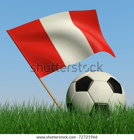Soccer ball in the grass and the flag of Peru against the blue sky. 3d - stock photo