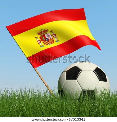 Soccer ball in the grass and the flag of Spain against the blue sky. 3d - stock photo