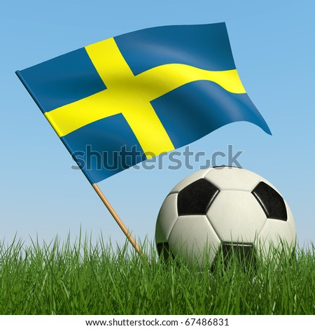 Soccer ball in the grass and the flag of Sweden against the blue sky. 3d - stock photo