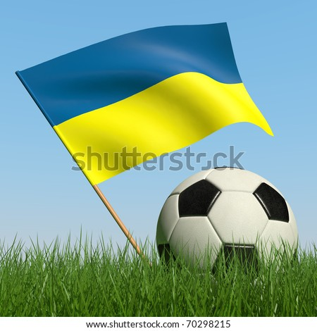 Soccer ball in the grass and the flag of Ukraine against the blue sky. 3d - stock photo