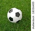 Soccer ball in the grass. See more soccer images in my portfolio. - stock photo