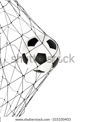 soccer ball in the net gate on a white background - stock photo