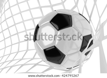 Soccer ball in white net. Goal action as a symbol of competition and scoring. 3D illustration - stock photo