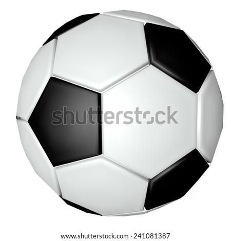 Soccer ball isolated over white, 3d render - stock photo