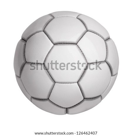 Soccer ball made of artificial leather on a white background - stock photo