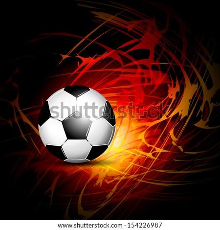 Soccer ball on fire - stock photo
