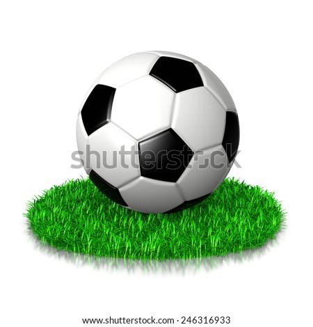 Soccer Ball on Grass 3D Illustration on White Background - stock photo