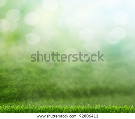 soccer ball on green grass - stock photo
