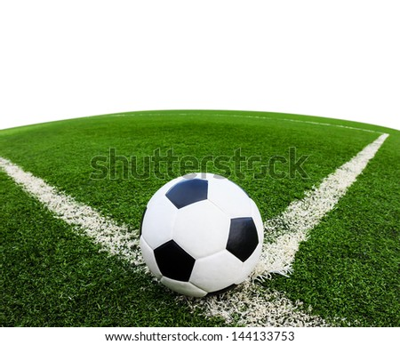 soccer ball on green grass field isolated on white background - stock photo