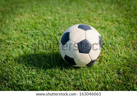 soccer ball on green grass,fifa wolrld cup brazil - stock photo