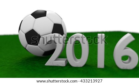 soccer ball on green grass in a simple 3d illustration, - stock photo