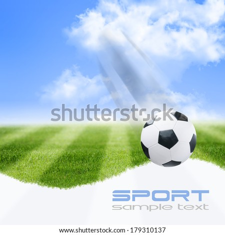 Soccer ball on green stadium - stock photo