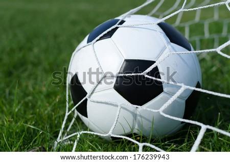soccer ball on soccer field conner - stock photo