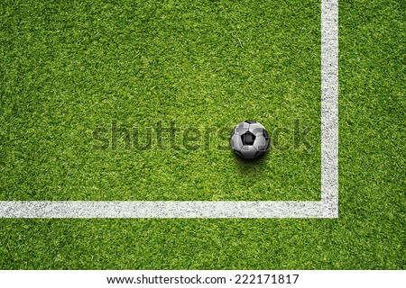 Soccer Ball On The Green Grass Field - stock photo