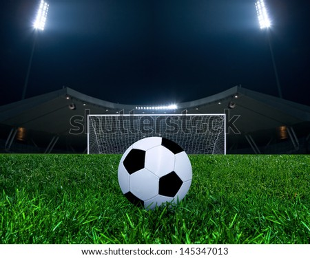 Soccer ball on the penalty point - stock photo