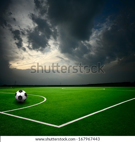 Soccer ball on the stadium - stock photo