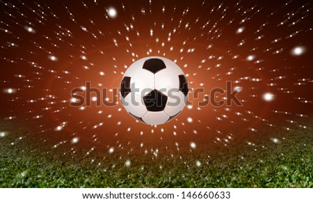 soccer ball on the star background - stock photo