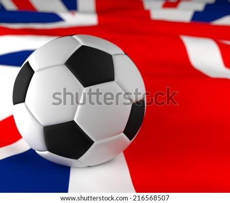 soccer ball on the United Kingdom flag  - stock photo