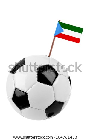 Soccer ball or football decorated with a small national flag of Equatorial Guinea on a tooth stick - stock photo