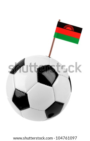 Soccer ball or football decorated with a small national flag of Malawi on a tooth stick - stock photo