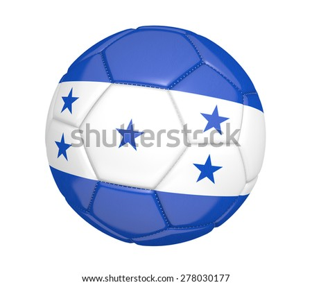 Soccer ball, or football, with the country flag of Honduras - stock photo