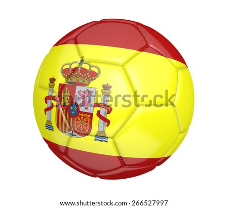 Soccer ball, or football, with the country flag of Spain - stock photo