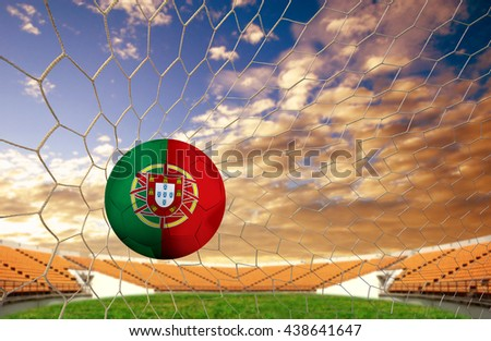 soccer ball team Portugal into the goal Football on a white background. - stock photo