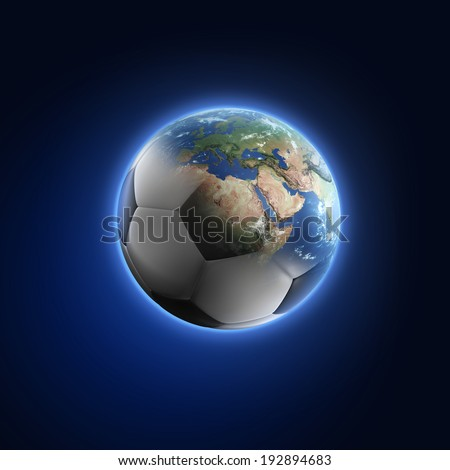 Soccer ball transforming into Earth on dark background. Elements of this image furnished by NASA  - stock photo