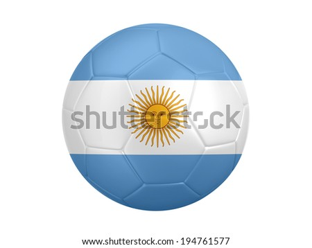 Soccer ball with Argentina flag isolated on white background - stock photo