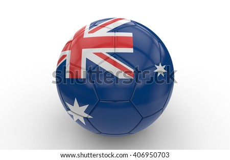 Soccer ball with Australia flag isolated on white background; 3d rendering - stock photo