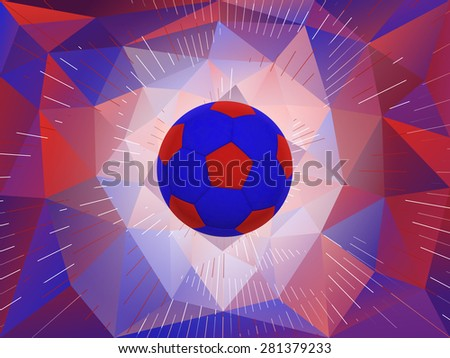 Soccer Ball With Colors of the UK Flag Over Polygonal Dynamic Background - Realistic 3D Illustration - stock photo