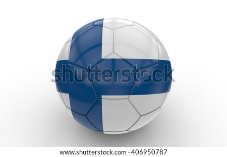 Soccer ball with Finland flag isolated on white background; 3d rendering - stock photo
