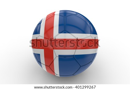 Soccer ball with icelandic flag isolated on white background: 3d rendering - stock photo