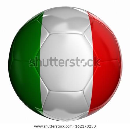 Soccer ball with Italian flag  - stock photo