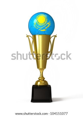 Soccer ball with Kazakhstan flag, on golden trophy cup - stock photo