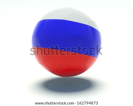 Soccer ball with russian flag colors. 3d rendering. Isolated on white background. - stock photo