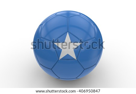 Soccer ball with Somalia flag isolated on white background; 3d rendering - stock photo