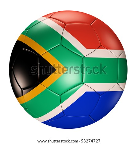 Soccer ball with south africa flag isolated 3d render - stock photo