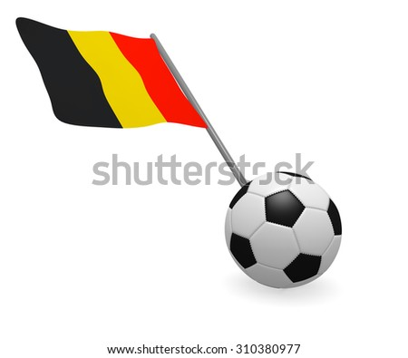 Soccer ball with the flag of Belgium on a white background - stock photo
