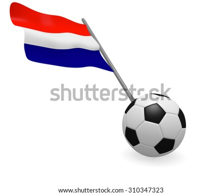 Soccer ball with the flag of Holland on a white background - stock photo
