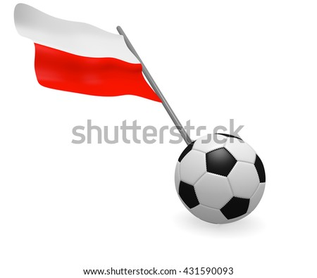 Soccer ball with the flag of Poland on a white background - stock photo