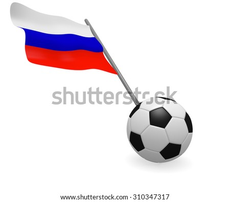 Soccer ball with the flag of russia on a white background - stock photo
