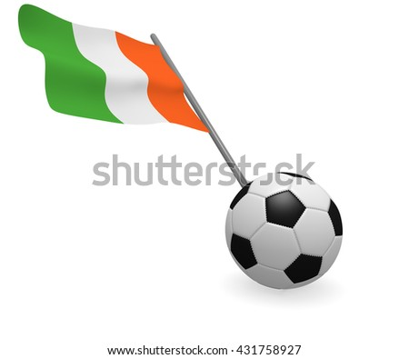 Soccer ball with the flag of the Republic of Ireland - stock photo