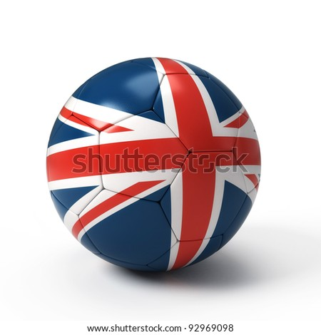 Soccer ball with United Kingdom flag isolated on white - stock photo